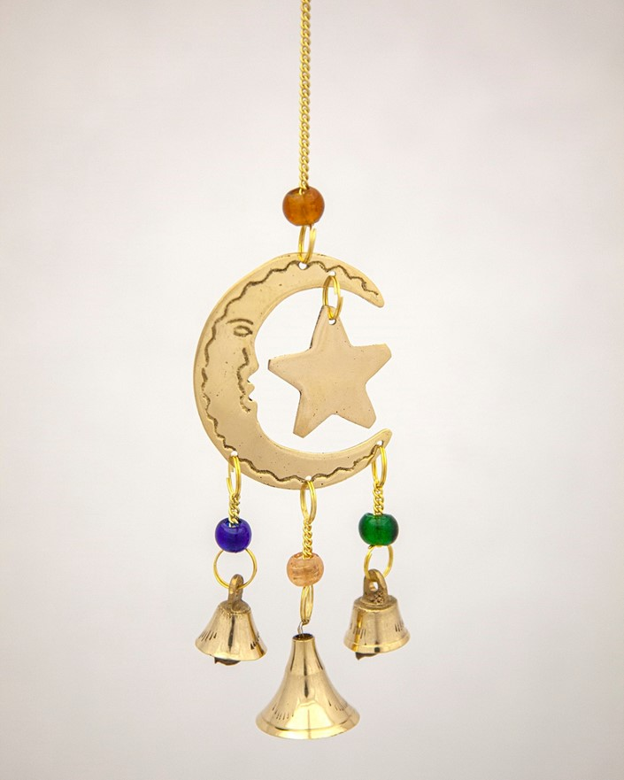 Brass Moon And Star With Beads